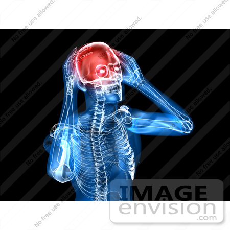 #49944 Royalty-Free (RF) Illustration Of A 3d Clear Human Being Character With A Migraine - Version 1 by Julos