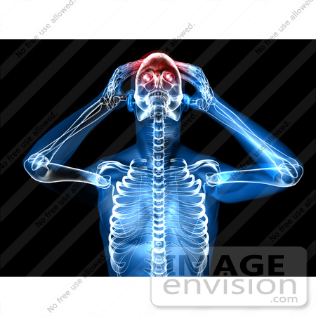 #49946 Royalty-Free (RF) Illustration Of A 3d Clear Human Being Character With A Migraine - Version 3 by Julos
