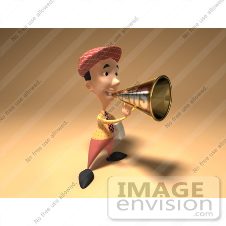 #49948 Royalty-Free (RF) Illustration Of A 3d News Boy Announcing News Through A Megaphone - Version 1 by Julos