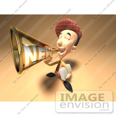 #49950 Royalty-Free (RF) Illustration Of A 3d News Boy Announcing News Through A Megaphone - Version 4 by Julos