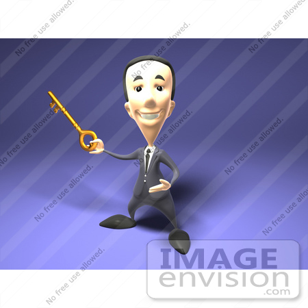 #49958 Royalty-Free (RF) Illustration Of A 3d Short Businessman Holding A Key by Julos