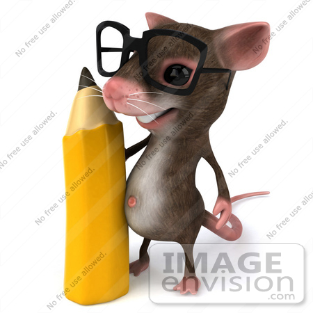 #49965 Royalty-Free (RF) Illustration Of A 3d Mouse Mascot Wearing Glasses And Standing With A Pencil by Julos