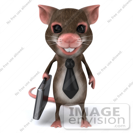 #49966 Royalty-Free (RF) Illustration Of A 3d Mouse Mascot Businessman Carrying A Briefcase - Version 1 by Julos