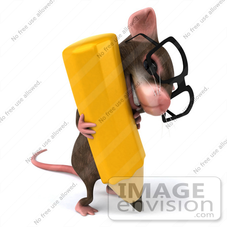 #49967 Royalty-Free (RF) Illustration Of A 3d Mouse Mascot Wearing Glasses And Struggling With A Pencil by Julos