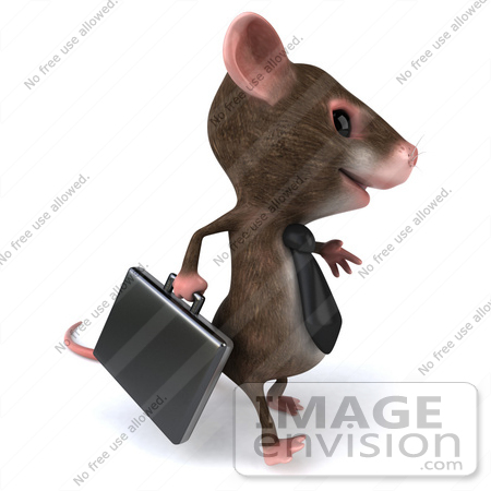 #49968 Royalty-Free (RF) Illustration Of A 3d Mouse Mascot Businessman Carrying A Briefcase - Version 2 by Julos