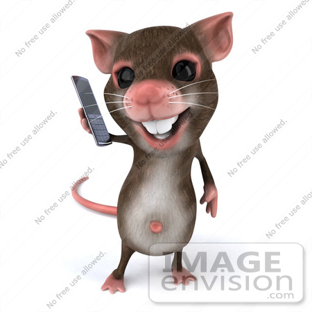 #49970 Royalty-Free (RF) Illustration Of A 3d Mouse Mascot Using A Modern Cell Phone - Version 1 by Julos