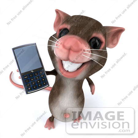 #49972 Royalty-Free (RF) Illustration Of A 3d Mouse Mascot Using A Cell Phone - Version 2 by Julos