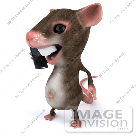 #49974 Royalty-Free (RF) Illustration Of A 3d Mouse Mascot Using A Cell Phone - Version 1 by Julos
