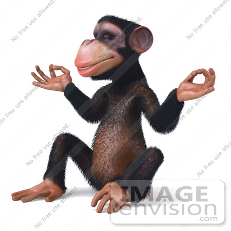 #49976 Royalty-Free (RF) Illustration Of A 3d Chimpanzee Mascot Meditating - Pose 2 by Julos