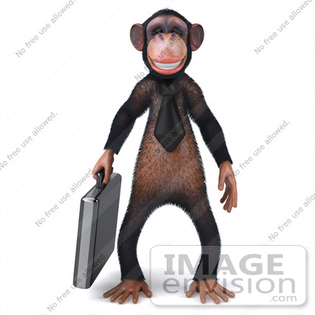#49986 Royalty-Free (RF) Illustration Of A 3d Chimpanzee Mascot Carrying A Briefcase - Pose 1 by Julos