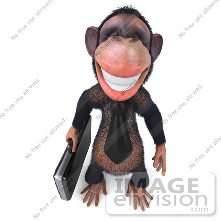 #49992 Royalty-Free (RF) Illustration Of A 3d Chimp Mascot With A Business Briefcase - Pose 1 by Julos