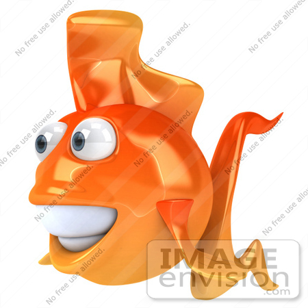 #49993 Royalty-Free (RF) Illustration Of A 3d Happy Goldfish Mascot Facing Left by Julos