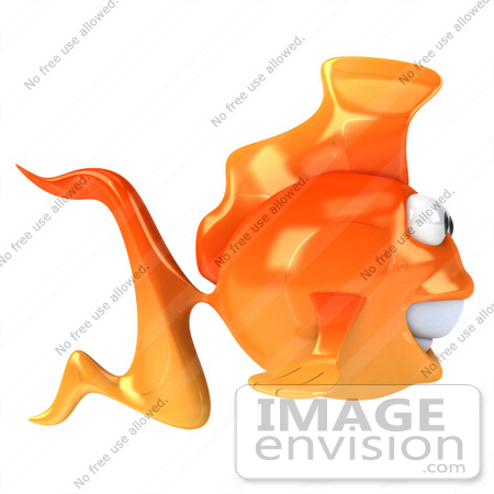 #50003 Royalty-Free (RF) Illustration Of A 3d Goldfish Mascot Profiled Right by Julos