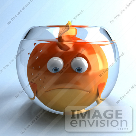 #50010 Royalty-Free (RF) Illustration Of A 3d Sad Fat Goldfish Mascot In A Small Fish Bowl by Julos