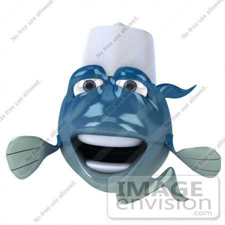 #50011 Royalty-Free (RF) Illustration Of A 3d Blue Chef Fish Mascot Facing Forward by Julos