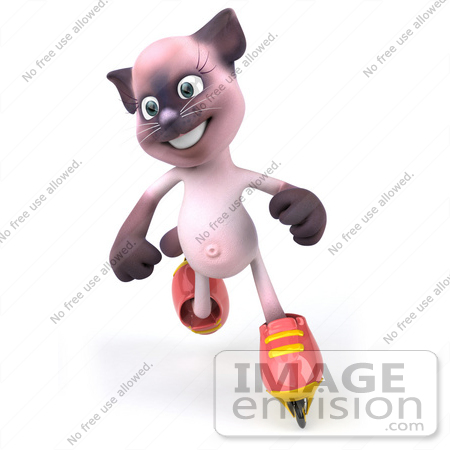 #50025 Royalty-Free (RF) Illustration Of A 3d Pink Cat Mascot Roller Blading - Version 2 by Julos