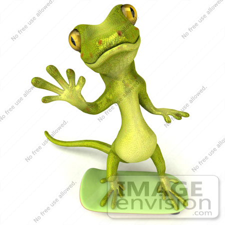 #50028 Royalty-Free (RF) Illustration Of A 3d Green Gecko Mascot Skateboarding - Version 1 by Julos