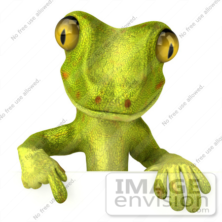 #50031 Royalty-Free (RF) Illustration Of A 3d Green Gecko Mascot Pointing Down At And Standing Behind A Blank Sign - Pose 1 by Julos