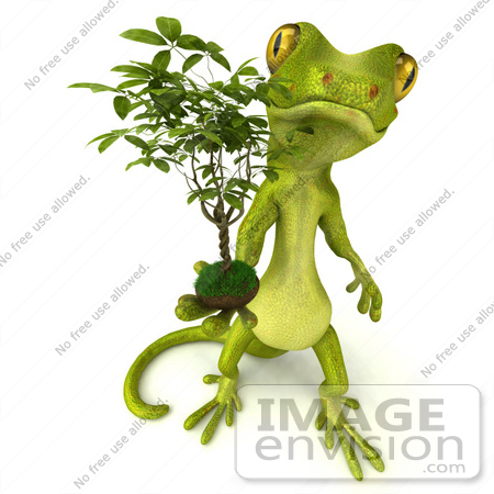 #50032 Royalty-Free (RF) Illustration Of A 3d Green Gecko Mascot Holding A Ficus by Julos