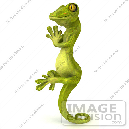 #50033 Royalty-Free (RF) Illustration Of A 3d Green Gecko Mascot In Profile, Meditating And Perched Up On His Tail by Julos