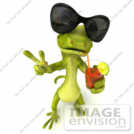 #50034 Royalty-Free (RF) Illustration Of A 3d Green Gecko Mascot Wearing Shades And Sipping Juice by Julos