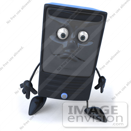 #50053 Royalty-Free (RF) Illustration Of A 3d Computer Case Mascot With A Sad Face by Julos