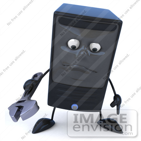 #50072 Royalty-Free (RF) Illustration Of A 3d Computer Case Mascot Holding A Tool - Pose 1 by Julos