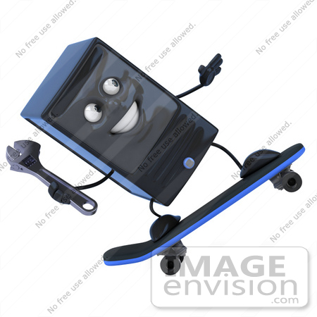 #50074 Royalty-Free (RF) Illustration Of A 3d Computer Case Mascot Holding A Wrench And Skateboarding - Version 2 by Julos