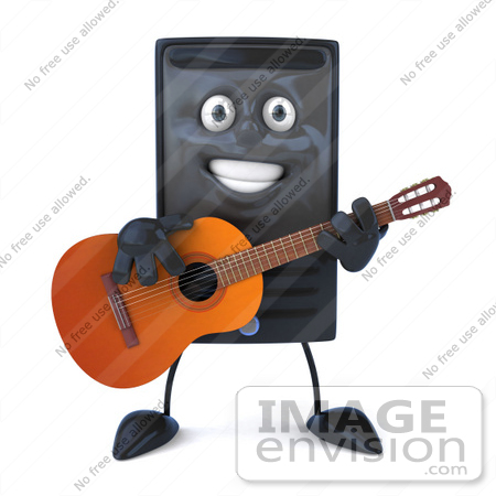 #50090 Royalty-Free (RF) Illustration Of A 3d Computer Case Mascot Guitarist by Julos
