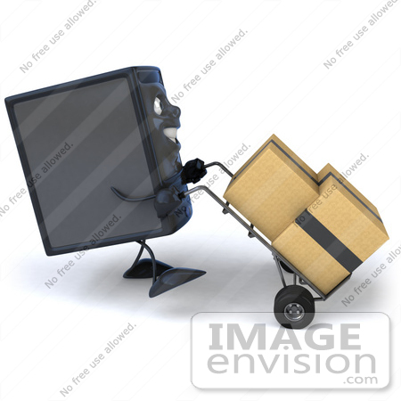 #50094 Royalty-Free (RF) Illustration Of A 3d Computer Case Mascot Pushing Boxes On A Dolly - Version 2 by Julos