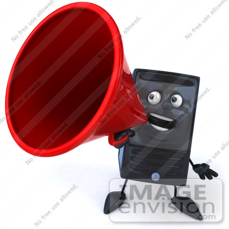 #50095 Royalty-Free (RF) Illustration Of A 3d Computer Case Mascot Using A Megaphone - Version 1 by Julos