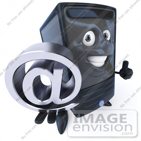 #50097 Royalty-Free (RF) Illustration Of A 3d Computer Case Mascot Holding An Arobase At Symbol - Version 1 by Julos