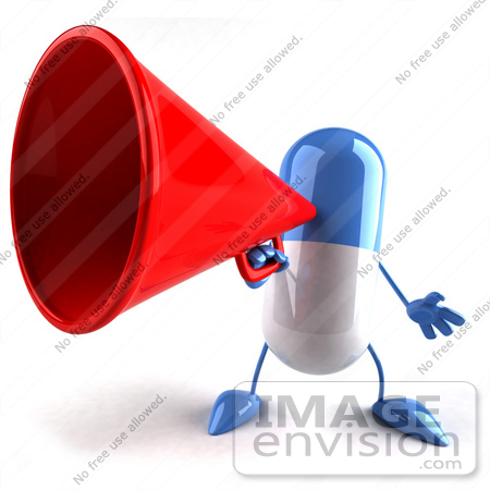 #50110 Royalty-Free (RF) Illustration Of A 3d Blue Pill Capsule Mascot Speaking Through A Megaphone - Version 1 by Julos