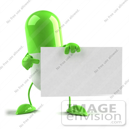 #50125 Royalty-Free (RF) Illustration Of A Green 3d Pill Capsule Mascot Holding A Blank Business Card by Julos