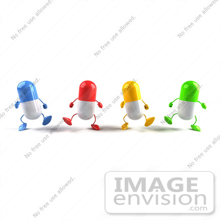#50133 Royalty-Free (RF) Illustration Of 3d Colorful Pill Capsule Mascots Marching Forward - Version 3 by Julos