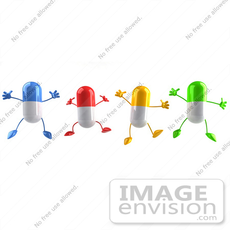 #50135 Royalty-Free (RF) Illustration Of 3d Colorful Pill Capsule Mascots Jumping - Version 1 by Julos