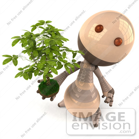 #50604 Royalty-Free (RF) Illustration Of A 3d Robot Mascot Holding A Plant - Version 4 by Julos