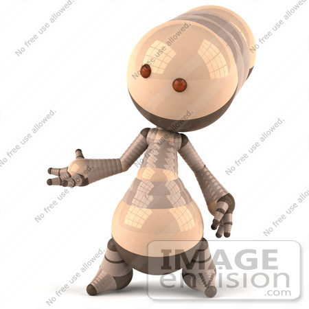 #50608 Royalty-Free (RF) Illustration Of A 3d Robot Mascot Gesturing With His Hand - Version 1 by Julos