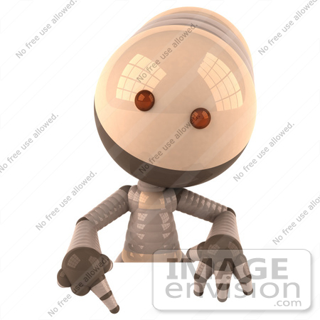 #50609 Royalty-Free (RF) Illustration Of A 3d Robot Mascot Pointing Down And Standing Behind A Blank Sign by Julos