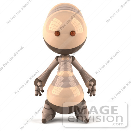 #50610 Royalty-Free (RF) Illustration Of A 3d Robot Mascot Facing Front by Julos