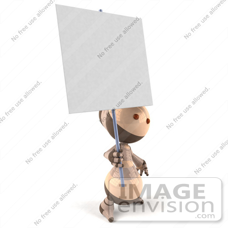 #50614 Royalty-Free (RF) Illustration Of A 3d Robot Mascot Holding Up A Blank Sign - Version 2 by Julos
