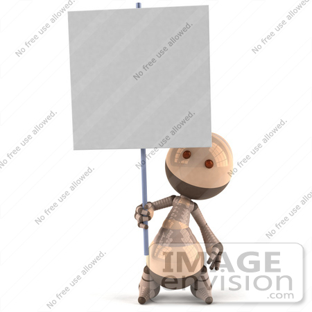 #50615 Royalty-Free (RF) Illustration Of A 3d Robot Mascot Holding Up A Blank Sign - Version 1 by Julos