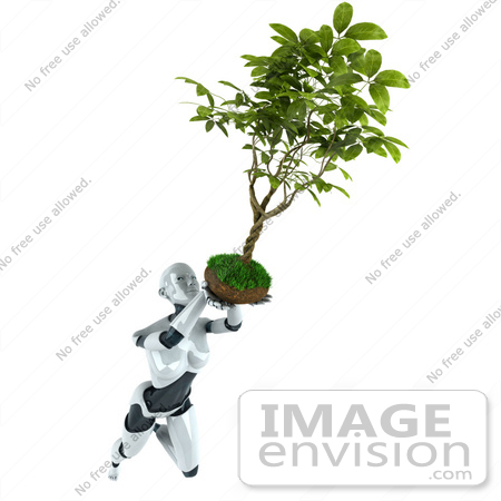 #50629 Royalty-Free (RF) Illustration Of A 3d Female Robot Mascot Flying With A Plant Over Her Head by Julos