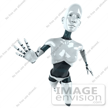 #50630 Royalty-Free (RF) Illustration Of A 3d Female Robot Mascot Reaching Outward - Version 1 by Julos