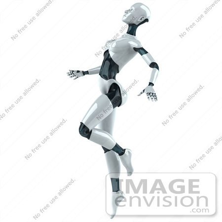 #50631 Royalty-Free (RF) Illustration Of A 3d Female Robot Mascot Dancing - Version 4 by Julos
