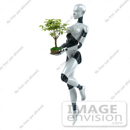 #50636 Royalty-Free (RF) Illustration Of A 3d Female Robot Mascot Carrying A Plant - Version 1 by Julos
