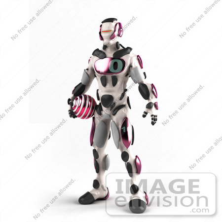 #50642 Royalty-Free (RF) Illustration Of A 3d Athletic Male Robot Mascot Standing And Holding A Pink Soccer Ball by Julos