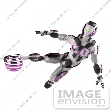 #50643 Royalty-Free (RF) Illustration Of A 3d Athletic Male Robot Mascot Kicking A Purple Soccer Ball by Julos