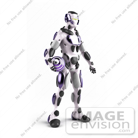 #50647 Royalty-Free (RF) Illustration Of A 3d Athletic Male Robot Mascot Standing And Holding A Purple Soccer Ball by Julos