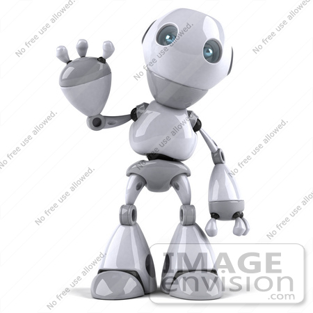 #50653 Royalty-Free (RF) Illustration Of A 3d White Robot Boy Mascot Standing And Waving by Julos
